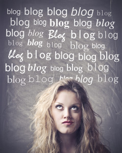 Beautiful woman with thoughtful expression and blog words above